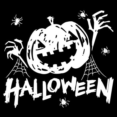 cobweb: jack-o-lantern pumpkin head with spider, cobweb and halloween text black and white color