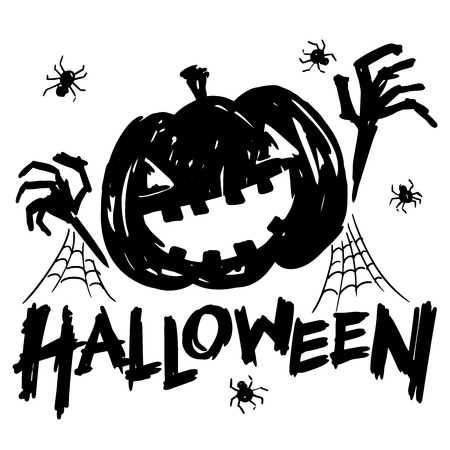 spiderweb: jack-o-lantern pumpkin head with spider, cobweb and halloween text black and white color
