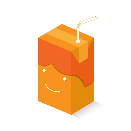 product box: Smiley orangy juice box boy with its shadow and a straw on it