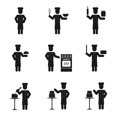 baking cake: Chef man icons set with whisk rolling pin and oven baking cake illustration pictogram black color isolated on white background Illustration