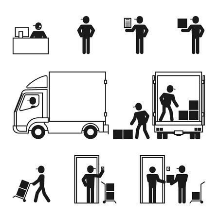 los iconos del sistema de logística de entrega hombre conjunto ilustración pictograma de color negro sobre fondo blanco