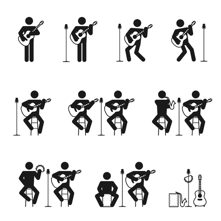 music band: Guitar man icons set with cajon tambourine and saxophone illustration pictogram black color isolated on white background Illustration