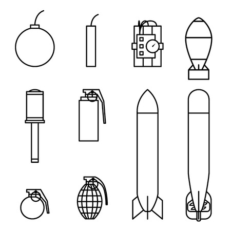 Bomb and missile icons outline stroke set black and white color isolated on white background Illustration