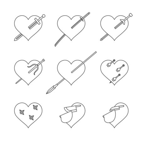 sword and heart: Heart and weapons icons set stab and cut concept black and white color isolated on white background