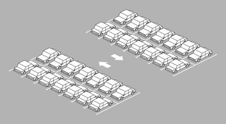 Parking plein avec la flèche sur la route en noir et blanc sur fond gris Vecteurs