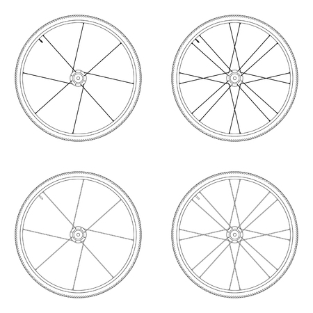 spoke: Bicycle spoke wheel tangential lacing pattern 1X black and white color isolated on white background Illustration