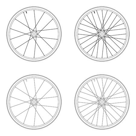 spoke: Bicycle spoke wheel tangential lacing pattern 2X black and white color isolated on white background Illustration