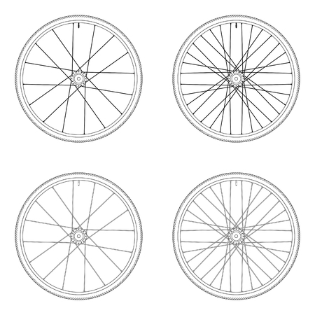 spoke: Bicycle spoke wheel tangential lacing pattern 3X black and white color isolated on white background