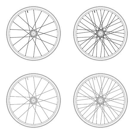Bicycle parlait modèle de laçage tangentielle de roue 4X couleur noir et blanc isolé sur fond blanc