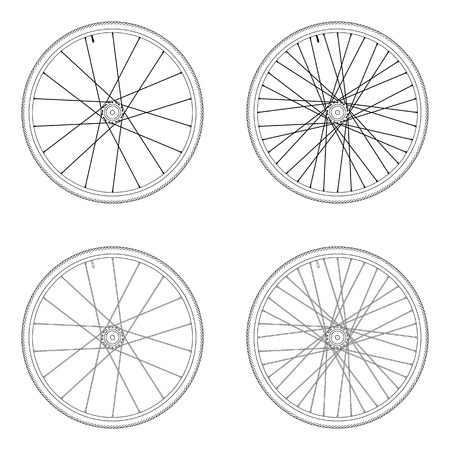 spoke: Bicycle spoke wheel tangential lacing pattern 4X black and white color isolated on white background