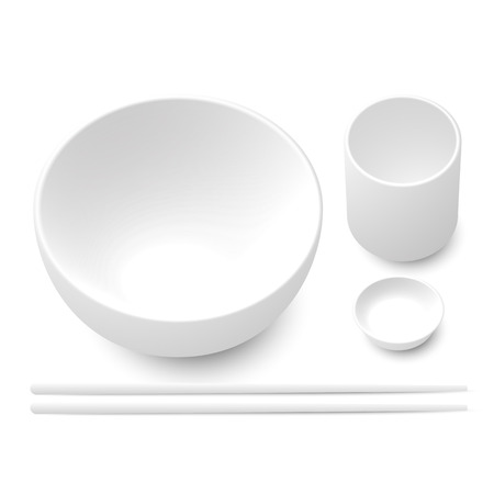 dipping: White bowl, chopsticks, dipping sauce cup and tea cup made from ceramic or wood Illustration