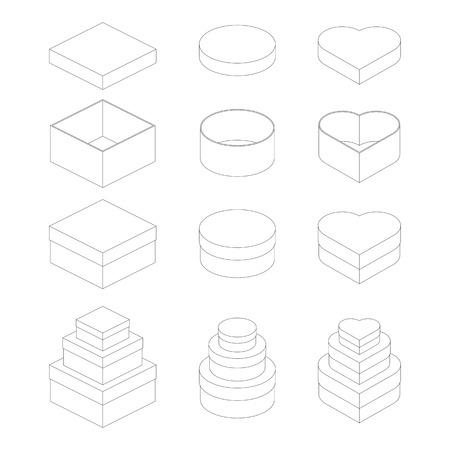 square shape: Paper box square shape, circle shape and heart shape outline vector design Illustration