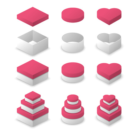 square shape: Paper box square shape, circle shape and heart shape vector design with pink color cover Illustration