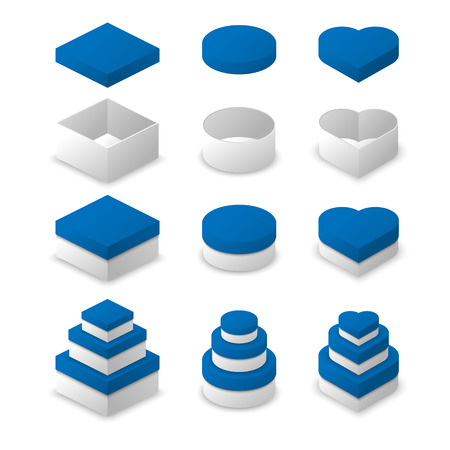 square shape: Paper box square shape, circle shape and heart shape vector design with blue color cover