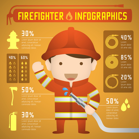 extinguishing: Firefighter infographics in orange fire suit yellow gradient background