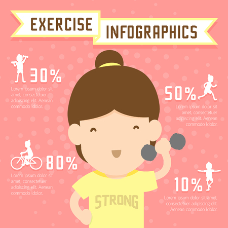 weight training: Woman exercise infographics run, weight training, bicycle and yoga isolated on pink background