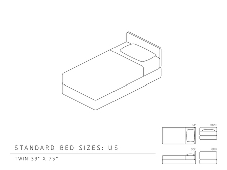twin bed: Standard bed sizes of us (United States of America) Twin size 39 x 75 inches perspective 3d with dimension top front side and back view illustration outline set black and white color