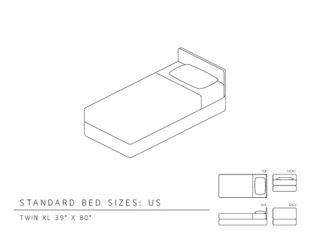 xl: Standard bed sizes of us (United States of America) Twin XL size 39 x 80 inches perspective 3d with dimension top front side and back view illustration outline set black and white color