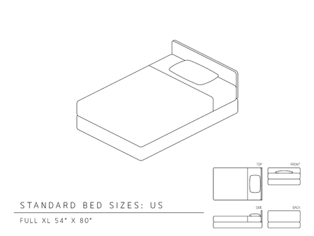 us sizes: Standard bed sizes of us (United States of America) Full XL size 54 x 80 inches perspective 3d with dimension top front side and back view illustration outline set black and white color