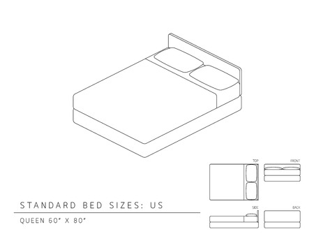 Standard bed sizes of us (United States of America) Queen size 60 x 80 inches perspective 3d with dimension top front side and back view illustration outline set black and white color Vettoriali