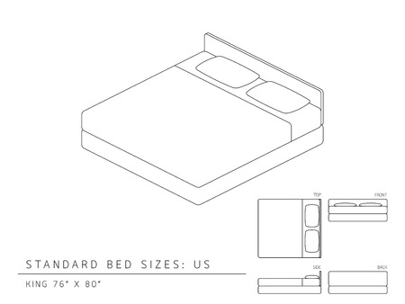 inches: Standard bed sizes of us (United States of America) King size 76 x 80 inches perspective 3d with dimension top front side and back view illustration outline set black and white color