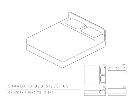 inches: Standard bed sizes of us (United States of America) California King size 72 x 84 inches perspective 3d with dimension top front side and back view illustration outline set black and white color