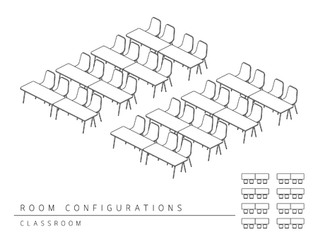 Meeting room setup layout configuration Classroom style, perspective 3d with top view illustration outline black and white color
