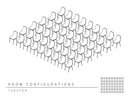Tagungsraum Setup Layout-Konfiguration Theater Stil, 3D-Perspektive mit Umriss Draufsicht-Darstellung schwarze und weiße Farbe Vektorgrafik