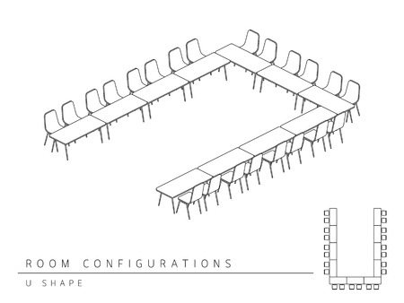 Meeting room setup layout configuration U Shape style, perspective 3d with top view illustration outline black and white color