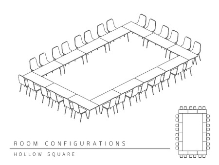 Meeting room setup layout configuration Hollow Square style, perspective 3d with top view illustration outline black and white color