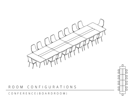 Meeting room setup layout configuration Conference Boardroom style, perspective 3d with top view illustration outline black and white color Vettoriali