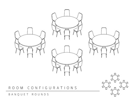 configuration: Meeting room setup layout configuration Banquet Rounds style, perspective 3d with top view illustration outline black and white color