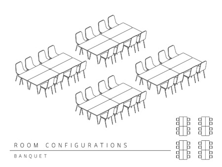 configuration: Meeting room setup layout configuration Banquet style, perspective 3d with top view illustration outline black and white color