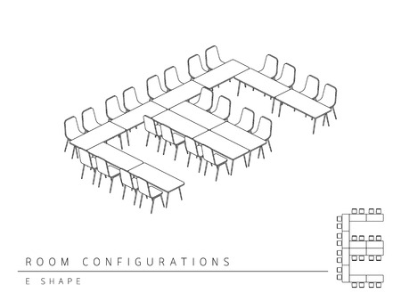 configuration: Meeting room setup layout configuration E Shape style, perspective 3d with top view illustration outline black and white color