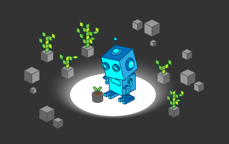 discover: Robot discover young plant among digital tree and rock illustration concept design
