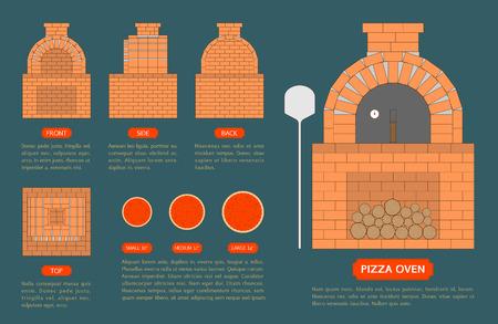 Pizzaofen aus Ziegelsteinen mit oben, von vorne, Seite, Blick zurück auf blauem Hintergrund