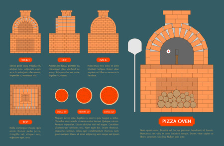 Pizza oven made from bricks with top, front, side, back view on blue background