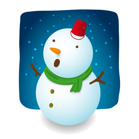 excite: Snowman illustration character design is excite with falling snow, red hat bucket, carrot nose and green scarf on night background Illustration