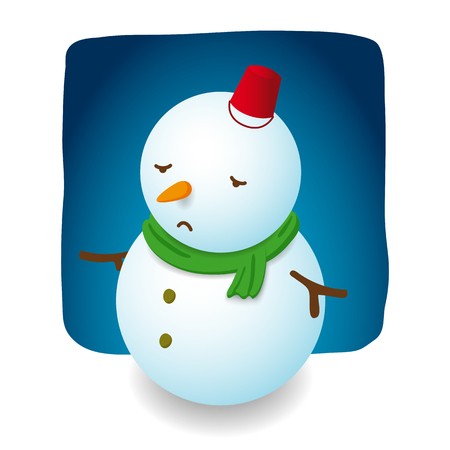 Snowman illustration character design is sad with red hat bucket, carrot nose and green scarf on night background