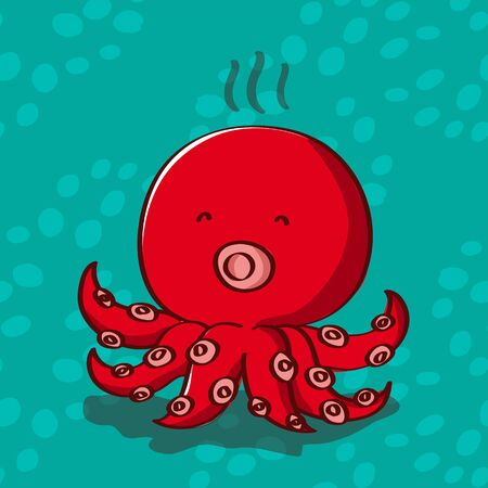 air bubble: Red octopus with air bubble background