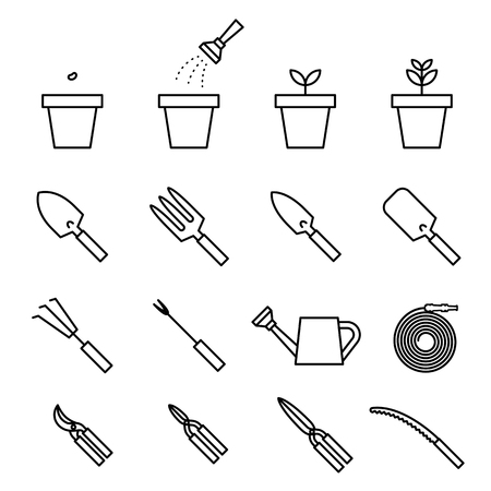 leaf line: Garden tool and plant icon set black and white color isolated on white background