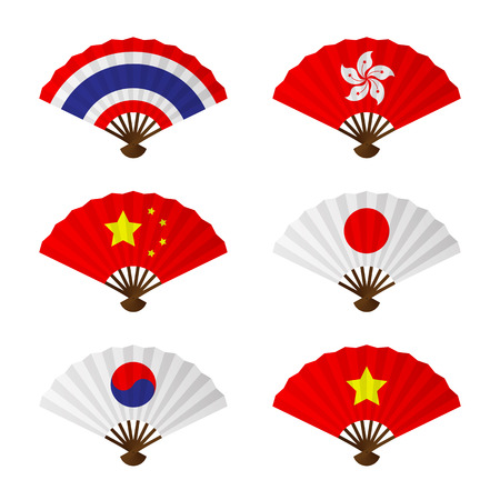 Folding fan or hand fan asia flag design set have thailand, hong kong, china, japan, korea and vietnam isolated on white background