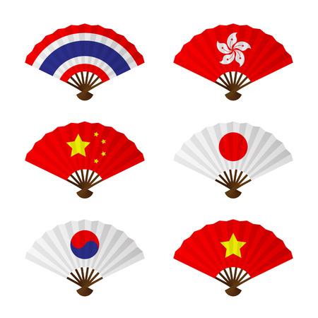 Vouwen fan of met de hand ventilator azië vlag ontwerp set hebben Thailand, Hong Kong, China, Japan, Korea en Vietnam op een witte achtergrond