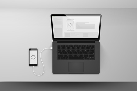 plugged: Laptop or notebook black design mock up sync data with mobile phone by cable on table illustration Illustration