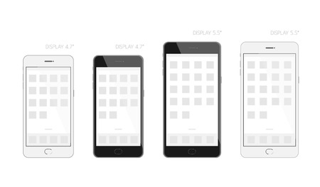 display size: Mobile phone black and white design display size 4.7 and 5.5 inches mock up, screen template illustration isolated on white background