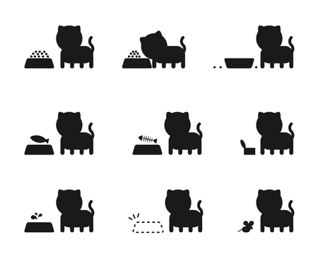 Cat feed story silhouette icons set illustration pictogram black color isolated on white background Illustration