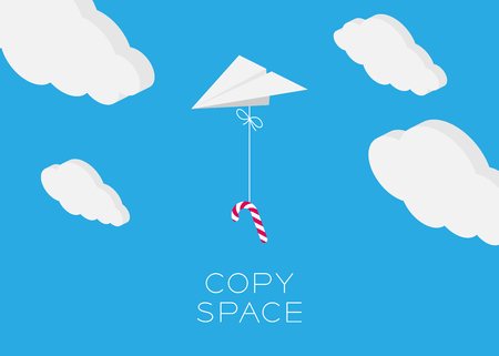 inches: Paper plane hanging walking stick candy flying in the blue sky and cloud background with copy space, postcard size 5x7 inches Illustration