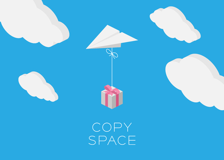 postcard box: Paper plane hanging gift box flying in the blue sky and cloud background with copy space, postcard size 5x7 inches Illustration
