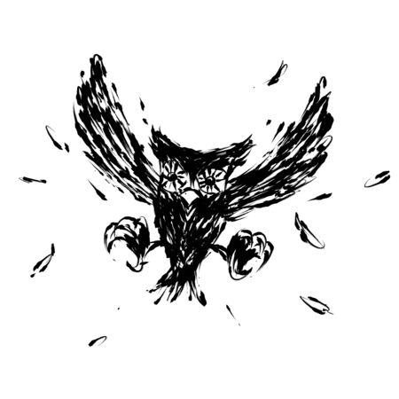 hovering: Hovering hunt owl claw illustration brush style black color isolated on white background Stock Photo