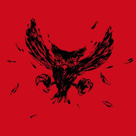 hovering: Hovering hunt owl claw illustration brush style black color isolated on red background